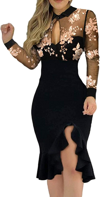 Womens Midi Dresses Mesh Long Sleeve Floral Pattern Slim Ruffles Mermaid Dress Fashion Tight Slit Bodycon Midi Dress