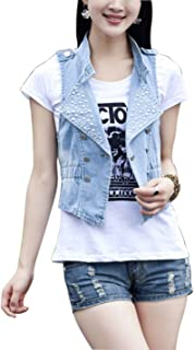 Lentta Women's Sequins Sleeveless Short Cropped Denim Jean Vest Waistcoat Jacket