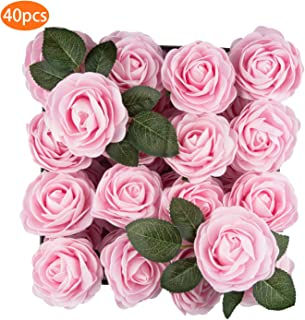 TOPHOUSE 40pcs Artificial Flowers Roses Real Touch Fake Roses for DIY Wedding Bouquets Bridal Shower Party Home Decorations (Ice Pink)