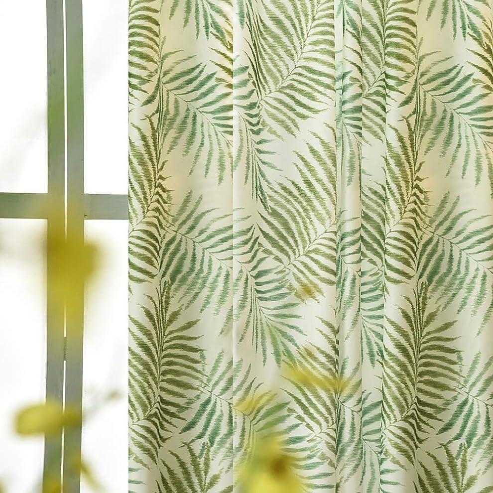 衣類広範囲社員【良品しかない】リーフ柄遮光カーテンハワイアン風おしゃれな植物葉柄ドレープカーテン UVカット リビングやホテル飾りにも (幅150cm*200cm 1枚入り, グリーン)
