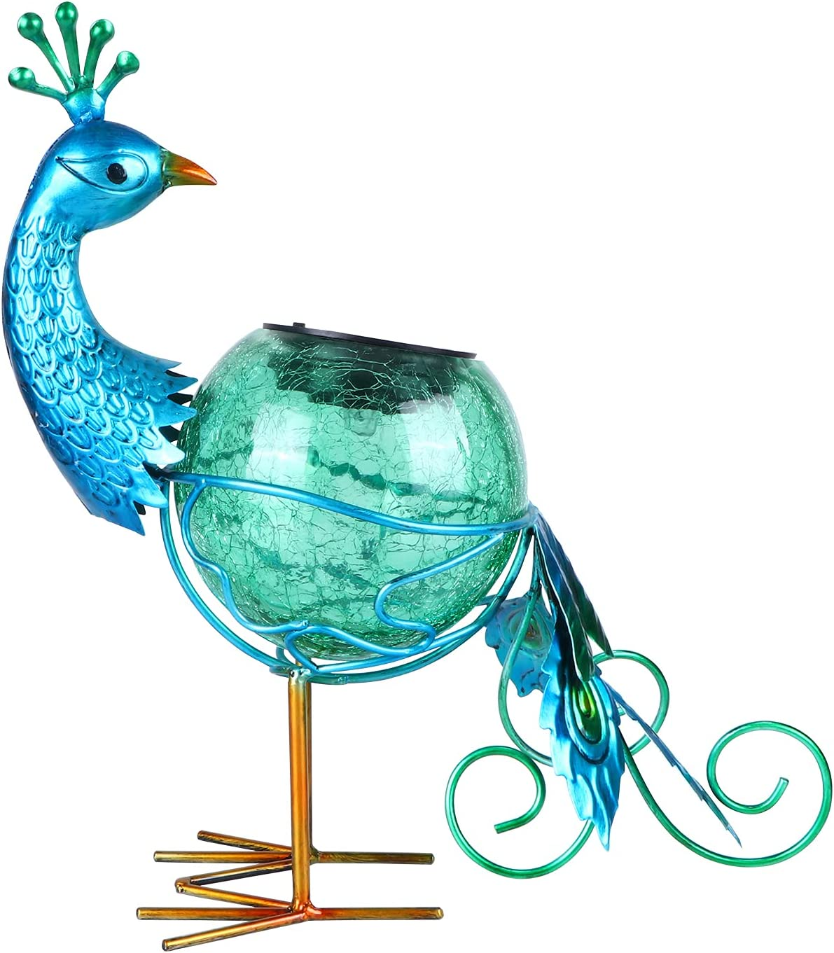 Solar Powered Animal Lights Outdoor Decor Peacock Figurine with LED Lights Waterproof Peacock Statue Light for Pathway Patio Backyard Decor Lawn Ornaments