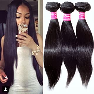 STRAIGHT Brazilian 3 Bundle Pack DEAL with 50% OFF LACE CLOSURE Virgin Hair Weave Extension Weft Track 100 Human Hair GUARANTEED or Natural Black Color -26
