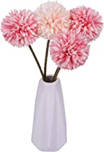 Miss Bloom Artificial Hydrangea 4 Heads with Ceramics Vase   Silk Flowers Desk Decorations for Women Office   Fake Flower Centerpiece Decor for Kitchen Table (Mix Pink)