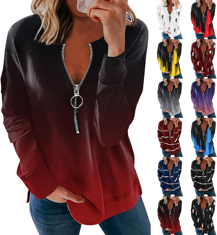 ORT Women Sweatshirt Zip Up, Womens Casual Crewneck Sweatshirt Gradient Printed Loose Soft Long Sleeve Pullover Tops Shirts