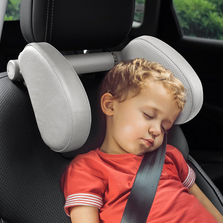 KUNGKIC Car Headrest Pillow,Full Grain Leather,U Shaped Car Seat Adjustable Head Neck Support,Sleeping Travel Car Pillow,Sleep Cushion Car Side Pillow for Kids Adults Elders (Gray)