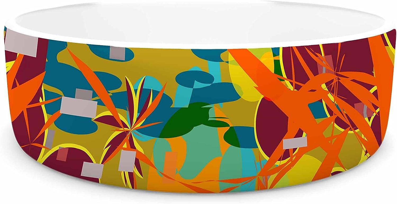 KESS InHouse Frederic LevyHadida Foliage Folie 3  Maroon Yellow Digital Pet Bowl, 7  Diameter