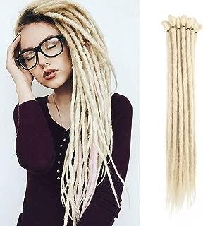 20 inch 100% Handmade Dreadlocks Extensions Fashion Reggae Hair Hip-Hop Style Soft faux locs Crochet Braiding Hair For Women/Men (Pack of 10Pcs, Pale Blonde)