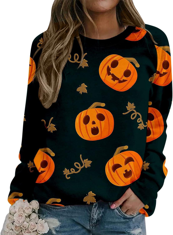 felwors Womens Halloween Sweatshirts, Womens Casual Pumpkin Halloween Costumes Pullover Tops Long Sleeve Sweater
