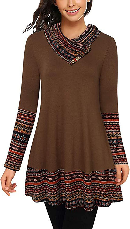 Womens Tunic Sweatershirt Button Wave Printing Cowl Pile Collar Stitching Long Sleeve Blouse Swing Hem Dress Tops