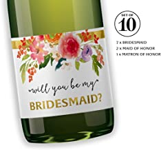 """Will You Be My Bridesmaid Mini Champagne Labels ● SET of 10 ● Bridesmaid Proposal, Maid of Honor Ask, Bridal Party Ask, Bridesmaid Wine Stickers, Wedding Favors, 3.5"""" x 2"""", WEATHERPROOF, 905G-ASK-10"""