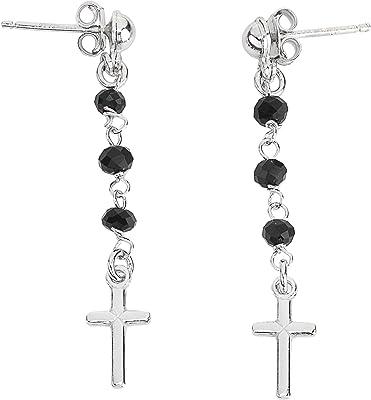 Orecchini Rosario AG925 - Cristalli Neri - Croce Liscia - Amen Collection