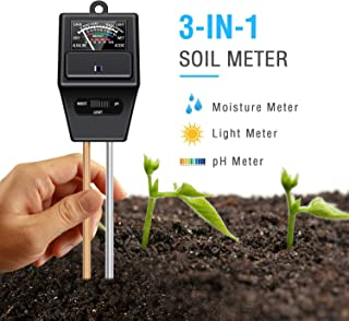 Atree Soil pH Meter, 3-in-1 Soil Test Kits with Moisture,Light and PH Tester for Garden, Farm, Lawn, Plants, Indoor & Outdoor (No Battery Needed)