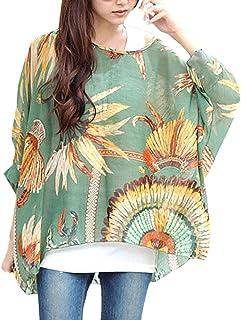 1cbcbde7 Mujer Tops Blusa Verano Elegantes Estampadas Vintage Boho Camisetas Manga  Larga Cuello Redondo Anchas Casual Fashion