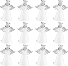 Juvale Glass Angel with Wings Ornament - 12-Pack Mini Christmas Figurine Decor, Standing Design with Hollow Bottom, Small Traditional Winter Holiday Festive Decoration, 1.4 x 1 x 1.6 Inches
