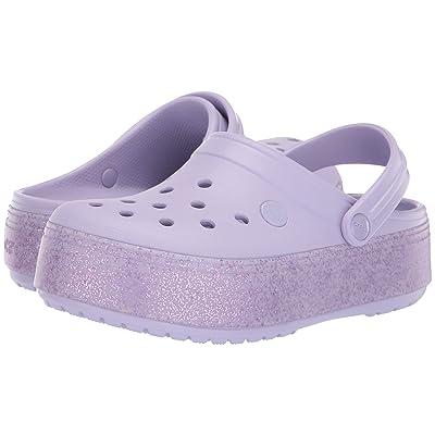 Crocs Kids Crocband Platform Clog GS (Little Kid/Big Kid) (Lavender/Lavender Sparkle) Girls Shoes