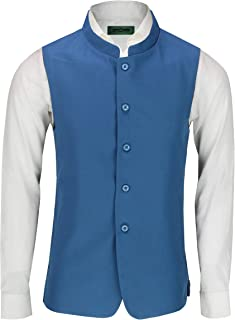 Mens Vintage Chinese Grandad Collar Waistcoat Retro Indian Nehru Beatle Style