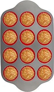 تابه مافین سیلیکونی با قاب فولادی ، 12 جام کامل | قالب های پخت غیر حرفه ای حرفه ای توسط Boxiki Kitchen | FDA تصویب Bakeware بدون BPA | قالب مافین 12 جام سیلیکون