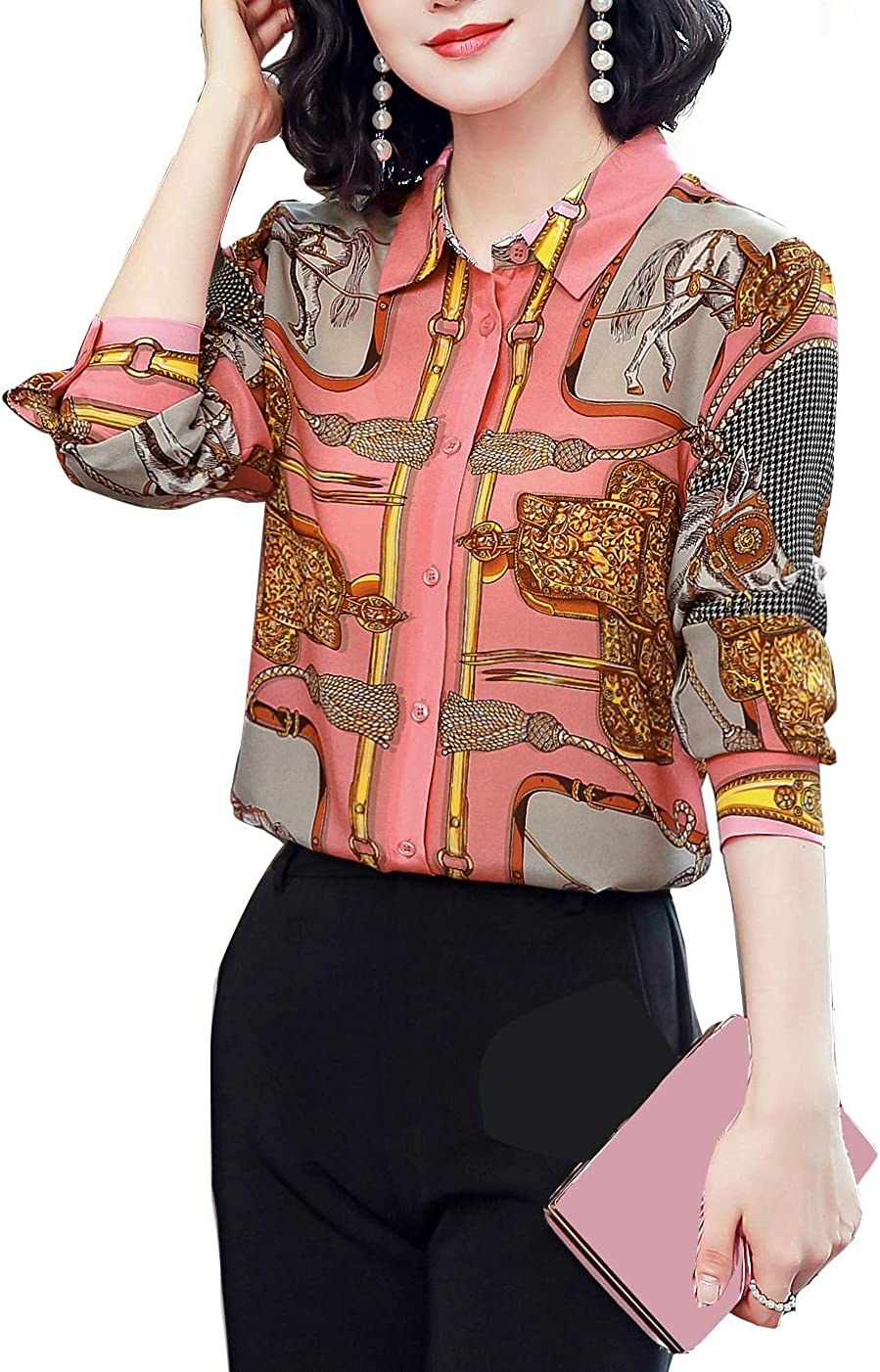 Blouses for Women's Elegant Printed Long Sleeve Shirts Button Down Casual Tops