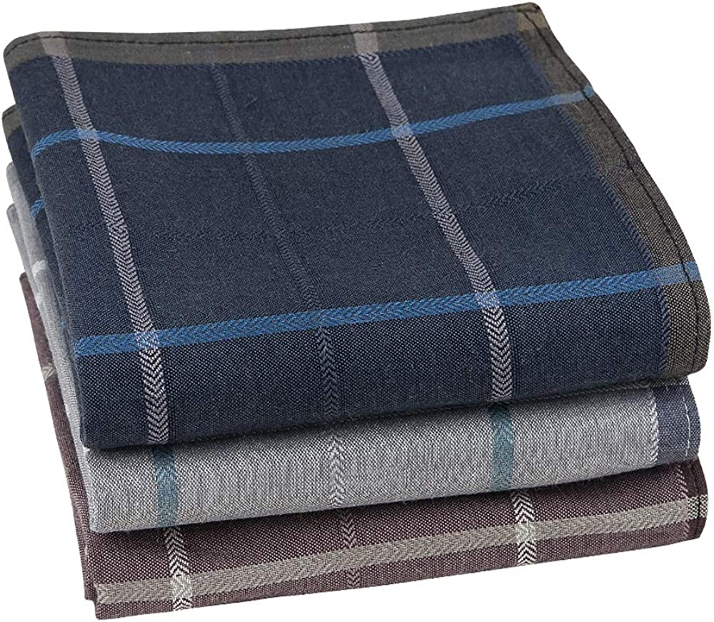 Houlife 100% Cotton Men's Stripe Soft Checkered Pattern Handkerchiefs Assorted Hankies 17x17