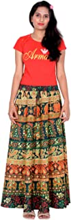 Rajvila 40 Inch Length Women's Cotton Printed Regular Long Elasti Skirt for Women (E_E40NT_0002)