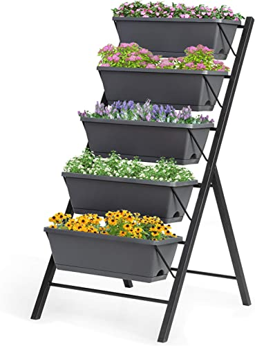 wholesale Giantex popular Vertical Raised Garden Bed, Elevated Planter Raised Beds outlet online sale with Water Drainage, Freestanding 5 Container Boxes for Vegetables and Flowers Growing, Outdoor Indoor Patio Balcony outlet sale