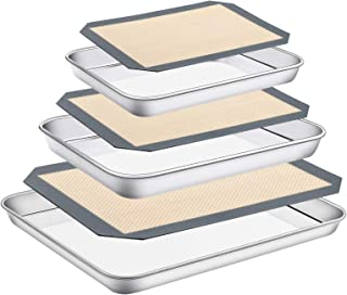 Stainless Steel Baking Sheet with Silicone Mat Set, Set of 6 (3 Sheets + 3 Mats),Size 18,12,9 inch, Estmoon Nonstick Cooki...