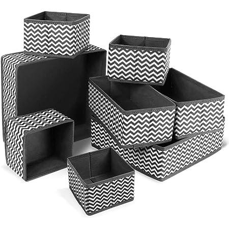 bac de Rangement pour larmoire de la Chambre denfants en Fibre synth/étique mDesign Boite de Rangement Gris//Noir Lot de 4 Panier de Rangement en Tissu avec fen/être de visualisation