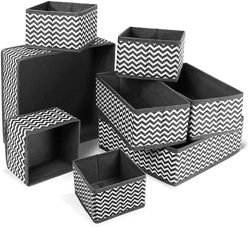 ilauke Organisateur Tiroir,8pcs Boîtes de Rangement Ouvertes de Oxford Haute Qualite Rangement Tiroir Pliable et Resp...