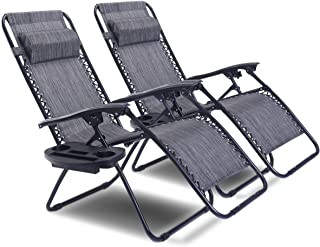 Goplus 2PC Zero Gravity Chairs Lounge Patio Folding Recliner Outdoor Yard Beach with Cup Holder (Gray)
