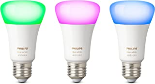 Philips Hue White and Color Ambiance - Pack de 3 bombillas LED E27, 9,5 W, iluminación inteligente, 16 millones de colores, compatible con Amazon Alexa, Apple HomeKit y Google Assistant