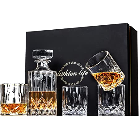 Lighten Life 5 Piece Whiskey Decanter Sets,Crystal Whiskey Decanter with 4 Glasses in Gift Box,Lead Free Whiskey Glass and Decanter Set,Whiskey Decanter Sets for Men,Father's Day,Birthday,Anniversary