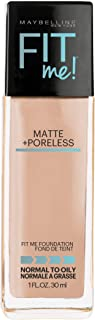 Maybelline Fit Me Matte + Poreless Liquid Foundation Makeup, Buff Beige, 1 fl. oz. Oil-Free Foundation