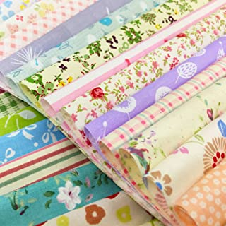 flic-flac Quilting Fabric Squares 100% Cotton Precut Quilt Sewing Floral Fabrics for Craft DIY (12 x 12 inches, 30pcs)