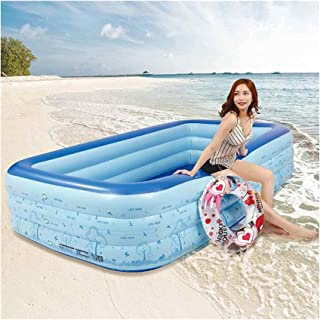 Inflatable Pool,300cm Summer Rectangular Inflatable Pool Paddling Pool Bathtub Outdoor Summer Swimming Pool Fit for Childr...
