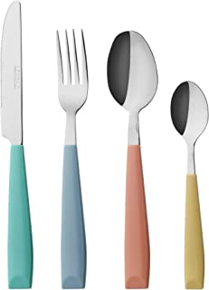 EXZACT 24PCS Flatware Set Colored - Stainless Steel With Plastic Wide Handles – Comfortable to Hold - 6 x Forks, 6 x Dinner Knives, 6 x Dinner Spoons, 6 x Teaspoons - Service for 6 (WF232W MixedColor)