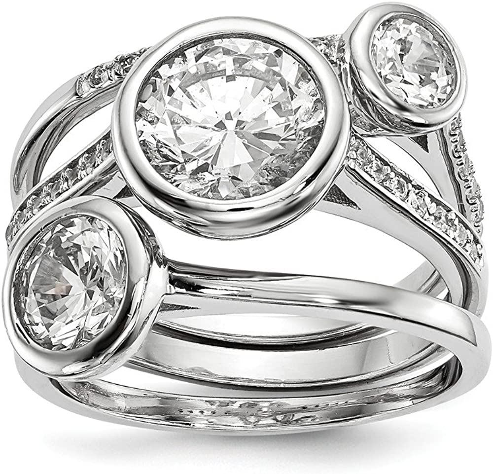 925 Complete Free Shipping Sterling Silver Cubic Zirconia Cz Brand Cheap Sale Venue Set 3 Band Ring Engagement