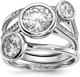 925 Sterling Silver Cubic Zirconia Cz 3 Band Ring Set Fine Jewelry For Women Gift Set