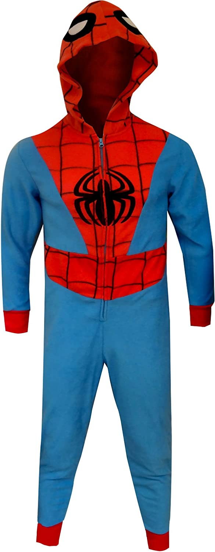 MJC Men's Spiderman Hooded Fleece One Piece Slim Cut Pajama