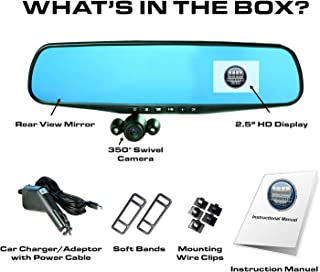 """Official HD Mirror Cam – As Seen on TV Dash Cam 350°, Motion Detection, 2.5"""" LCD, 720P HD, Dashboard Camera Video Recorder with Loop Recording, Night-Mode (Original)"""