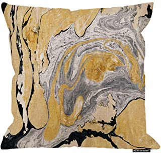 HGOD DESIGNS Throw Pillow Cover Black Gold Golden and Silver Marble Ink Abstract Painting..