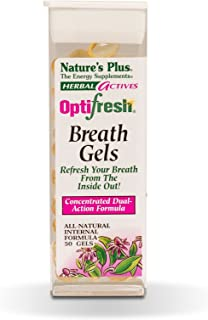NaturesPlus Herbal Actives Optifresh Breath Gels - 50 Softgels - Maximum Potency Natural Bad Breath Remedy, Herbal Halitosis Relief - with Peppermint - Gluten-Free - 25 Servings