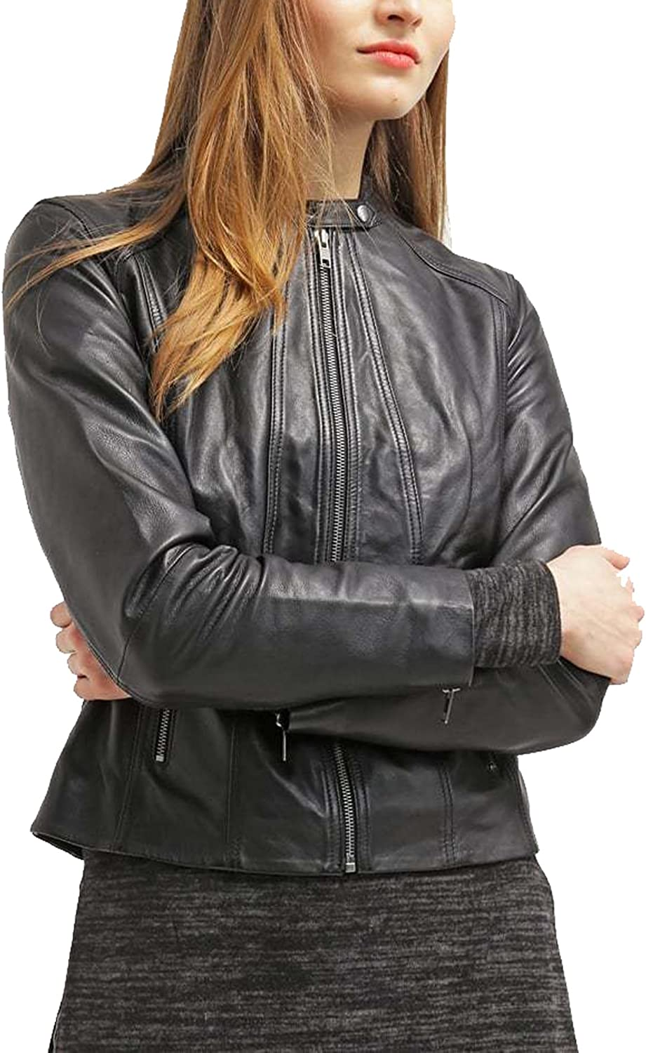 Kingdom Leather New Women Genuine Real Leather Jacket Ladies Slim Fit Biker Coat XW644