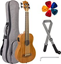 Electric Ubass Acoustic Bass Ukulele 30 inch Mahogany With Gig Bag Strap Picks Wrench By Kmise