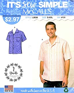 McCall's Sewing Pattern L9530 ML9530 Men's Sizes S-XXL Button Front Short Sleeve Shirt