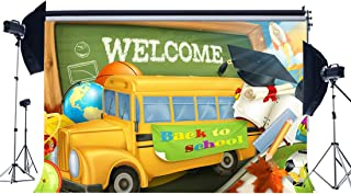 Gladbuy Welcome Back to School Backdrop 5X3FT Vinyl School Bus Backdrops Blackboard Graduation Hat Class of 2018 Photography Background for Students Teachers Congrats Party Photo Studio Props KX838