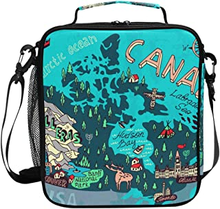 ADONINELP Lunch Bag Square Illustrated Map Canada Travel Cartography 3D Printed Picnic Bag Insulated Cooler Tote Box Meal Holder Containers Lunchbox Case