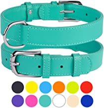 CollarDirect Genuine Leather Dog Collar 12 Colors, Soft Padded Collars for Puppy Small Medium Large, Mint Green Black Pink White Red Blue Purple