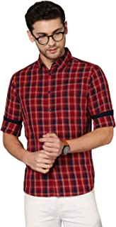 Dennis Lingo Men's Checkered Red Slim Fit Cotton Casual Shirt