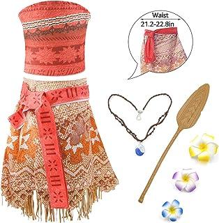 RioRand Moana - Costume da principessa, con collana, motivo floreale e Oar