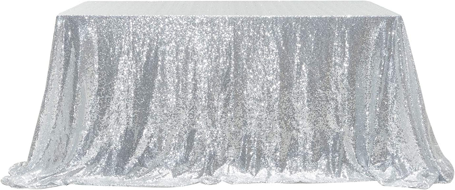 PartyDelight Sequin Tablecloth Rectangular 60 X120 Silver